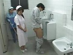 Asian Nurse and Cleaning Lady Patient Jerk Off