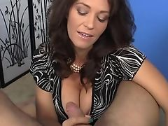 Fashionable mature hand job joy with rounded milf pov